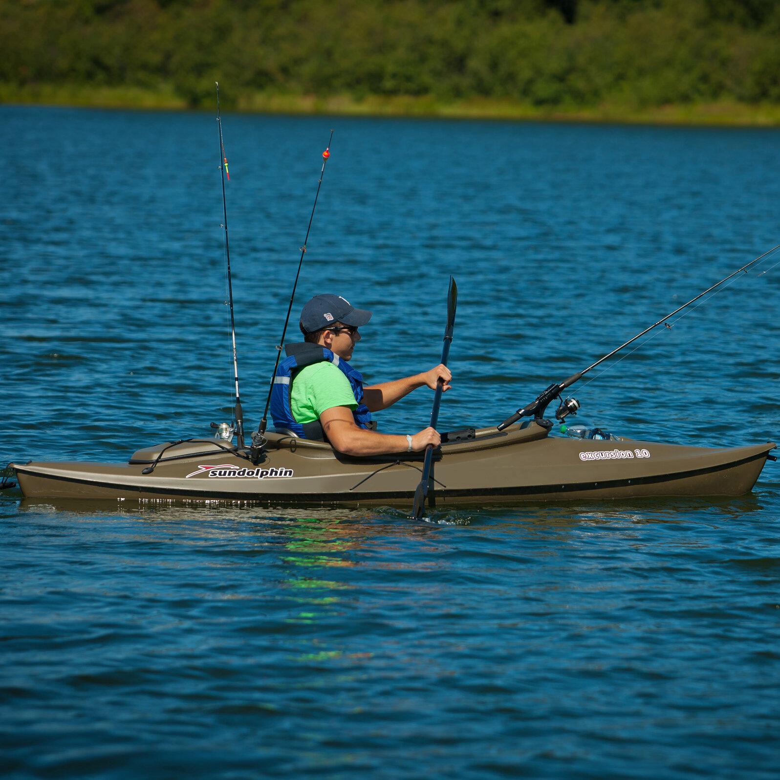 Sun dolphin sun dolphin excursion 10 39 deluxe fishing kayak for 10 fishing kayak