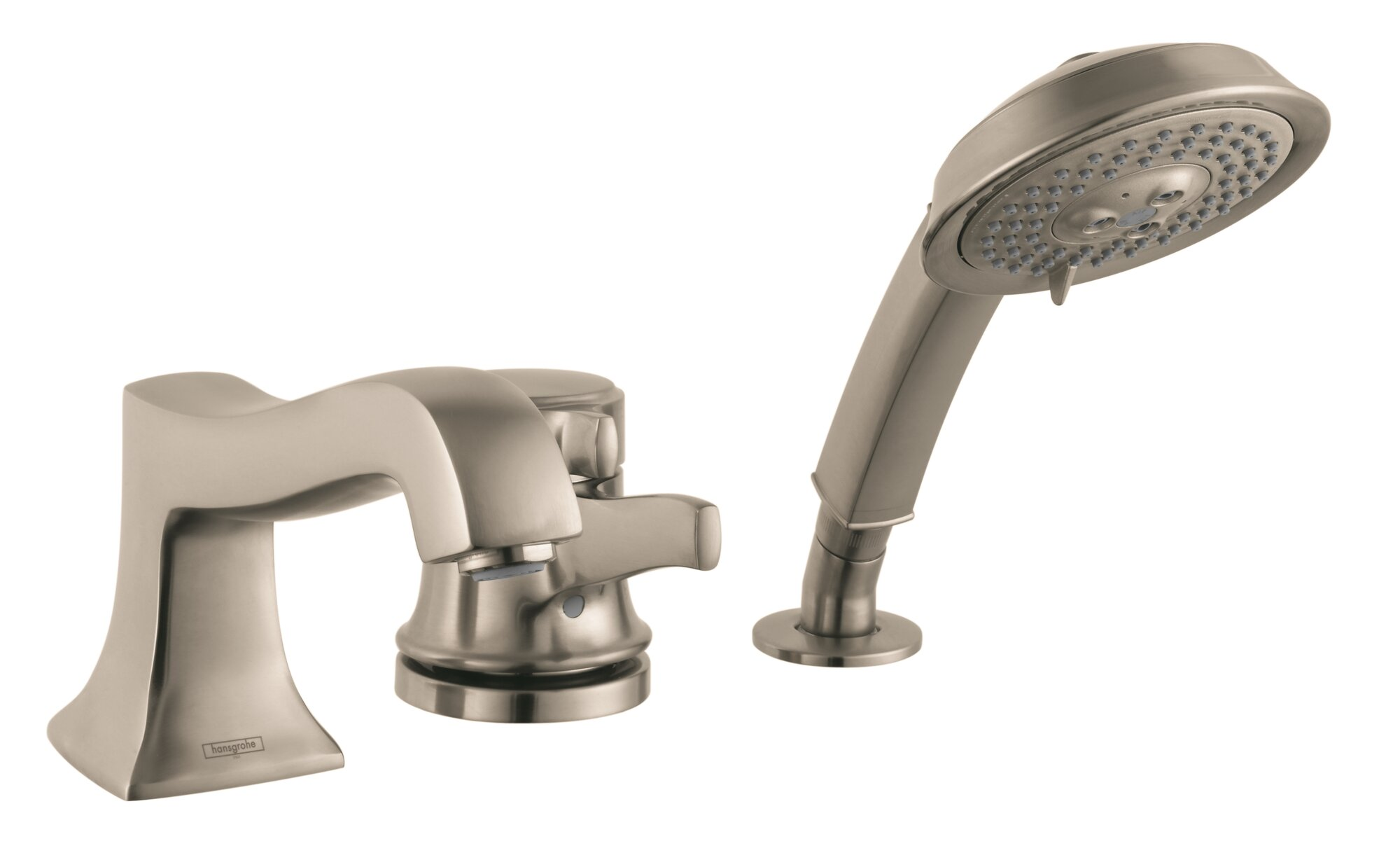 Metris C Single Handle Deck Mounted Roman Tub Faucet Trim With Hand Shower