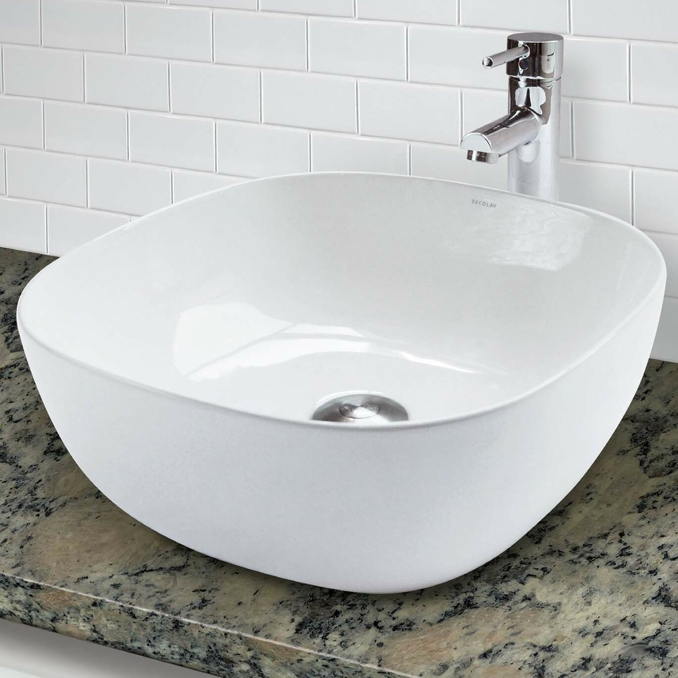 Decolav Classically Redefined Above Counter Lavatory Square Vessel Bathroom Sink