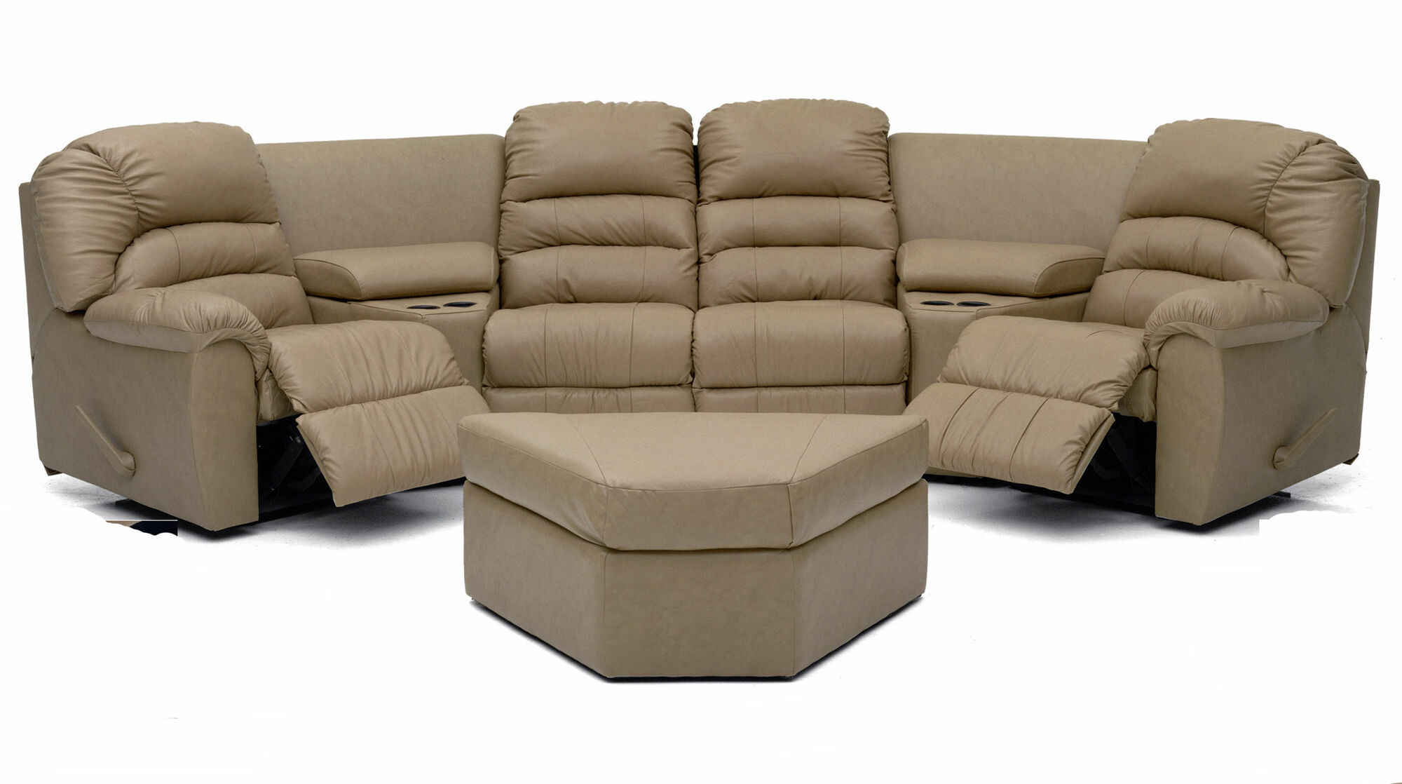 Leather sectional couch with recliners and built in shelf for Sectional sofa recliner repair parts