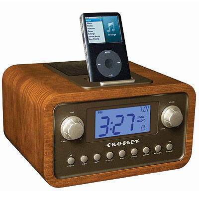 Crosley Dock Clock IPod Docking Station in Walnut