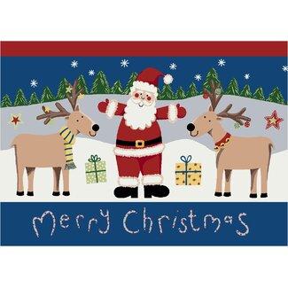 Winter Santa Deer Christmas Rug
