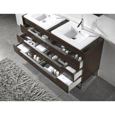 Adornus Double Bathroom Vanity Set Mirror Base Walnut