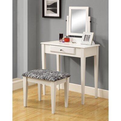 Monarch Specialties Mirror Zebra Print Stool Set Dressing Tables