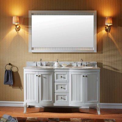 Charlton Home Double Bathroom Vanity Set Mirror Base White Faucet