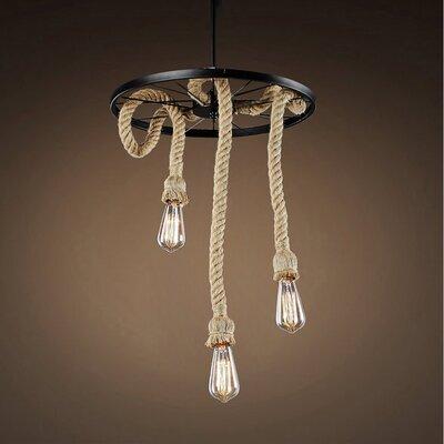Fischer Hemp Rope Edison 3-Light Pendant