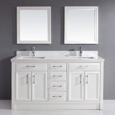 Bauhaus Bath Double Bathroom Vanity Set Mirror Top Solid Surface Base White