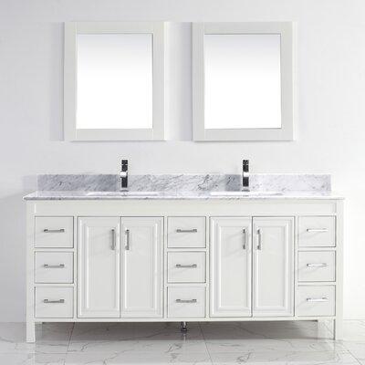 Bauhaus Bath Double Bathroom Vanity Set Mirror Top Marble Base White