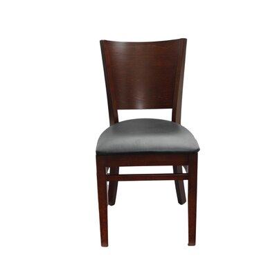 Justchair Melissa Side Chair Walnut Upholstery Black Vinyl Padded