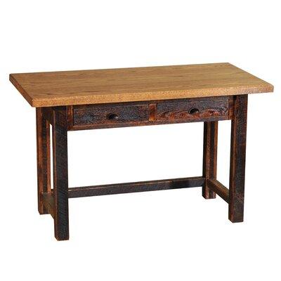 Fireside Lodge Barnwood Drawers Writing Desk Antique Oak Finish Hickory Legs