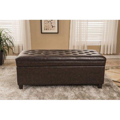 Bellasario Waxed Texture Dark Tufted Wood Storage Bench