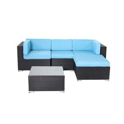 Ebern Designs Rattan Sectional Sofa Cushions Turuoise