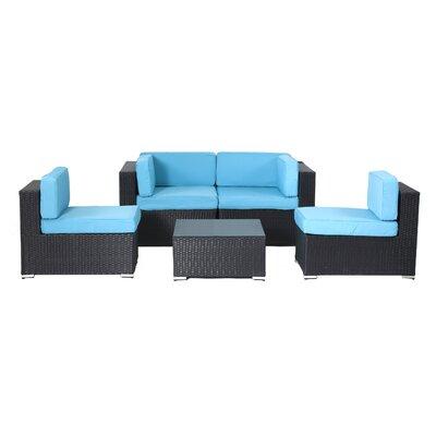 Ebern Designs Rattan Sectional Set Cushions Turuoise