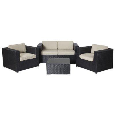 Ebern Designs Rattan Sofa Set Cushions Taupe