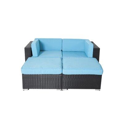 Ebern Designs Rattan Conversation Set Cushions Turuoise