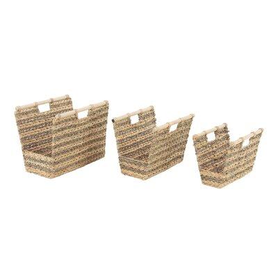 Rosecliff Heights Rectangular Woven Wicker Basket Set Hyacinth Storage