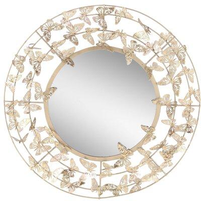 Harriet Bee Round Butterfly Accent Mirror Modern Mirrors