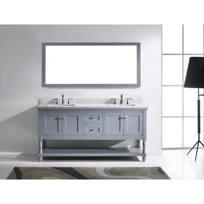 Gracie Oaks Double Bathroom Vanity Set Mirror Base Gray Sink Shape