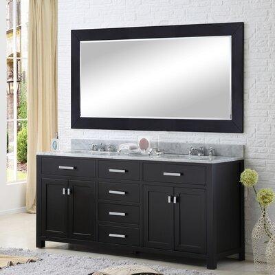 Andover Mills Double Bathroom Vanity Set Rectangular Mirror Base Espresso