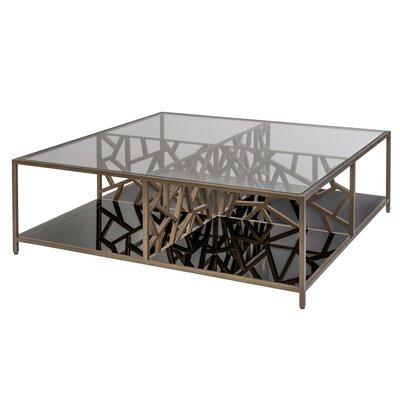 Allan Copley Designs Ice Coffee Table Gilt Medium Bronze Bottom Shelf Smokey Grey