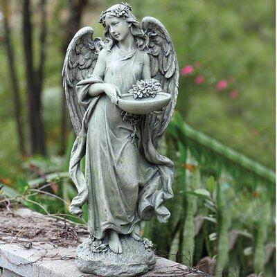Angel with Bowl Decorative Tray Bird Feeder 63669