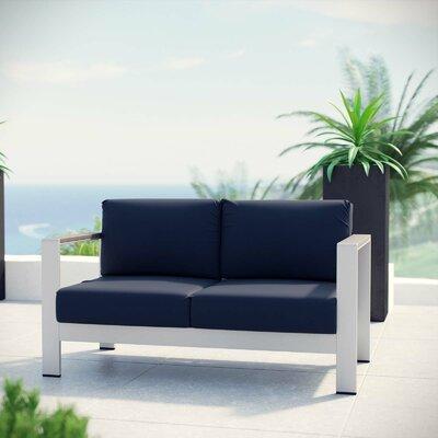 Orren Ellis Patio Aluminum Loveseat Cushions Outdoor Sofas