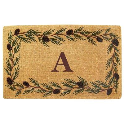 Evergreen Border Monogrammed Doormat