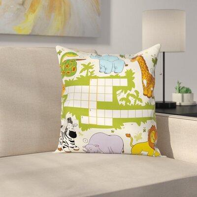 """Puzzle Wild Safari Square Cushion Pillow Cover Size: 16"""" x 16"""" ESUN8455 44267139"""