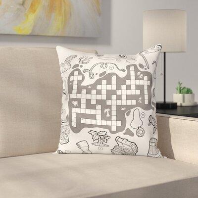 "Puzzle Pirate Theme Square Cushion Pillow Cover Size: 16"" x 16"" ESUN8453 44267134"