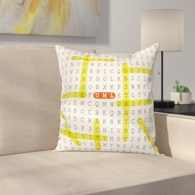 "Puzzle UML Keywords Square Cushion Pillow Cover Size: 20"" x 20"" ESUN9135 44269873"