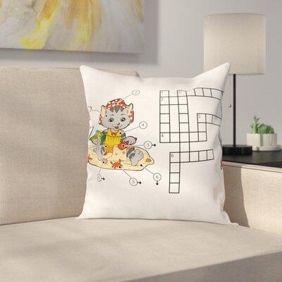 "Puzzle Crossword Square Cushion Pillow Cover Size: 16"" x 16"" ESUN9007 44269348"