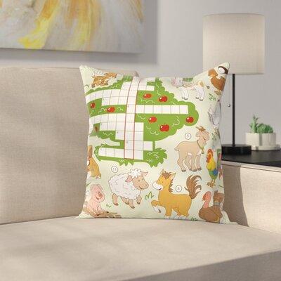 "Puzzle Farm Animals Square Cushion Pillow Cover Size: 24"" x 24"" ESUN8454 44267138"