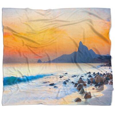 Seashore Photo Stone in the Beach at Sunset Blanket 367156FAEB074AE78A9789B48955B3A0
