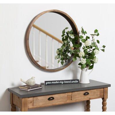 Gracie Oaks Wood Wall Mirror Round Mirrors