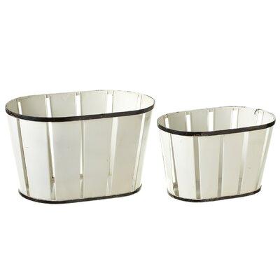 Gracie Oaks Slat Metal Basket Set Enamelware Storage