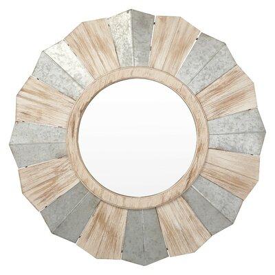 Benzara Metal Wood Accent Mirror Galvanized Mirrors