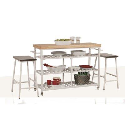 August Grove Island Set Solid Wood Top Kitchen Kitchen Islands