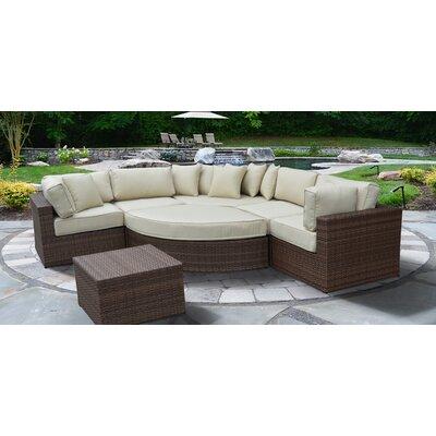 Stylish Rattan Sectional Set Cushions Lush