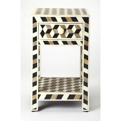 Brayden Studio Bone Inlay End Table Wood Side Tables