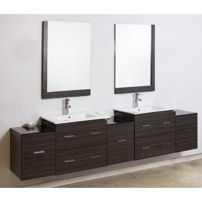 American Imaginations Modern Wall Mount Bathroom Vanity Set Mirror Faucet Chrome
