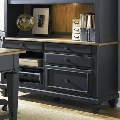Beachcrest Home Solid Wood Credenza Desk Black
