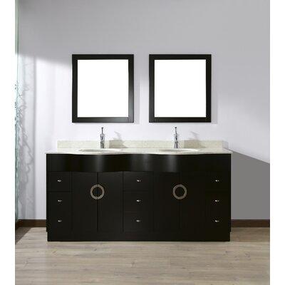 Bauhaus Bath Double Bathroom Vanity Set Mirror Top Nougat Quartz Top