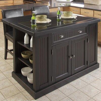 Beachcrest Home Kitchen Island Set Granite Top Base Black