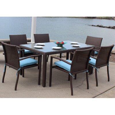 Elanamar Designs Outdoor Wicker Dining Set Stanton Lagoon