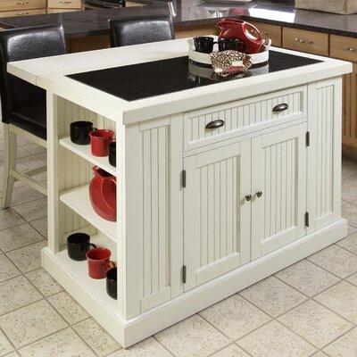 Beachcrest Home Kitchen Island Granite Top Base White