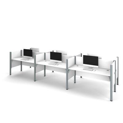 Six Straight Desk Workstation Privacy Panels White