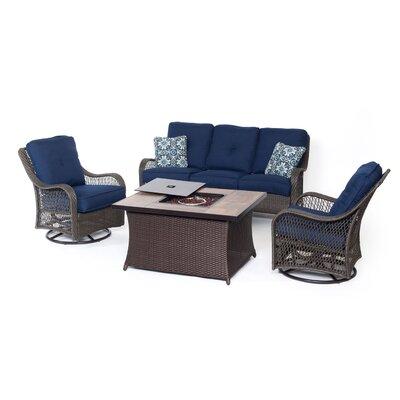 Alcott Hill Rattan Sofa Set Cushions Navy Blue