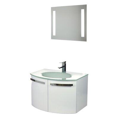 Acf Dance Single Bathroom Vanity Set Mirror Base Glossy White