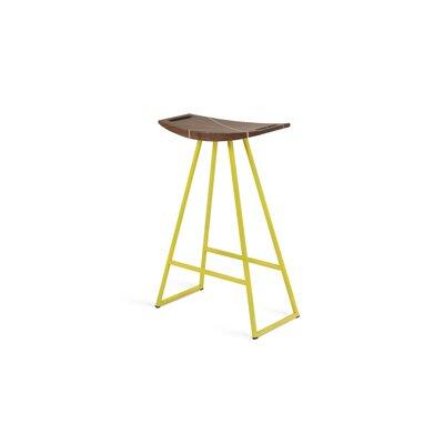 Tronk Design Bar Stool Walnut Base Yellow