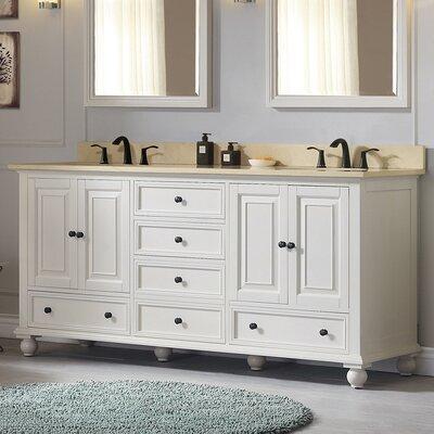 Avanity Double Modern Bathroom Vanity Set Top Beige Base French White